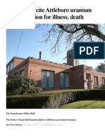 Ex-workers Texas Instruments Site Attleboro Uranium Plant Radiation for Illness, Death