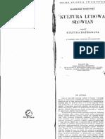 Kazimierz Moszyński - Kultura Ludowa Słowian Cz1 Kultura Materjalna (1929)