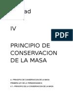 unidad IV pincipios de conservacion de la masa