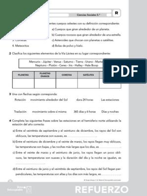 307096017 Ciencias Sociales 5 Primaria Fichas Pdf Satélite Natural Planetas