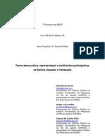 Teoria democrática, representação e instituições participativas na Bolívia, Equador e Venezuela
