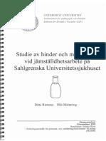 Jämställdhetslagen på Sahlgrenska Universitetssjukhuset. Ditta Rietuma. 1999