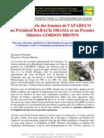 Lettre ouverte des femmes de l'APARECO au Président BARACK OBAMA et au Premier Ministre GORDON BROWN