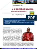 INTERVIEW D'HONORE NGBANDA Président National de l'APARECO Samedi 10 Octobre 2009