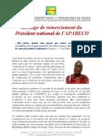 Message de remerciement du Président national de l'APARECO