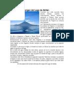 La Leyenda Del Origen Del Lago de Atitlán