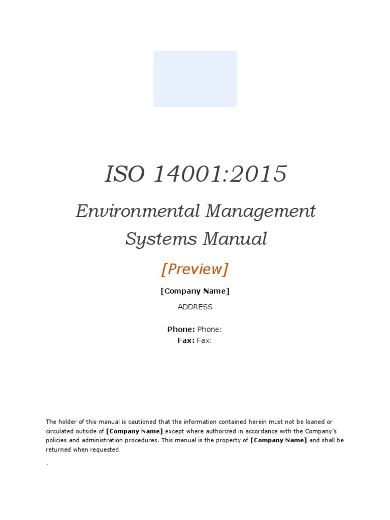 ISO 14001:2015 Environmental Management System manual template