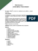 """PRÁCTICA N5- """"DESTILACIÓN SIMPLE Y FRACCIONADA"""""""