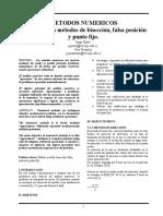 Informe Biseccion,Falsa Pocision y Punto Fijo