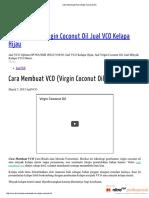 Cara Membuat VCO (Virgin Coconut Oil)