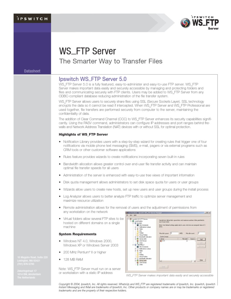 Datasheet FTP Server | File Transfer Protocol | Server