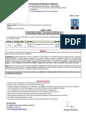 SBP BSC (OG-1), 7th Batch Test-Admit Card Sample (1) pdf