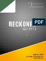 Dr. Reddy's Q1FY11 - Reckoner