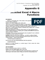 Appendix G Selected Excel 4 Macro Functions
