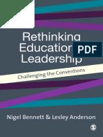Rethinking Educ Leadership [Nigel d Bennett, Lesley Anderson]