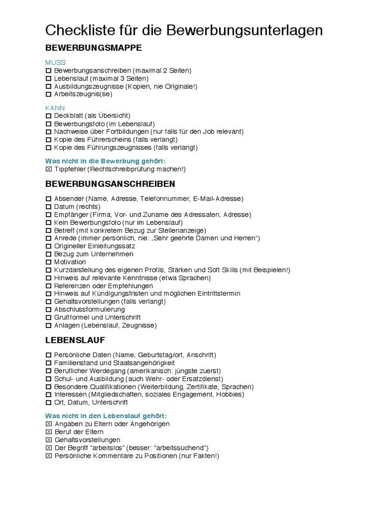 bewerbung checkliste - Lebenslauf Qualifikationen