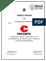 Training Need Identification in Escorts Ltd. Tapas Mandal