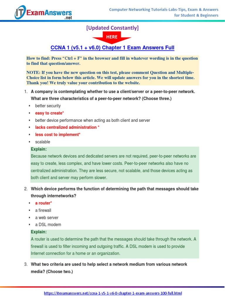 Ccna 1 V51 V60 Chapter 1 Exam Answers 2017 100 Full Cisco