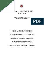 o.m. Reguladora de Limpieza Viaria, Gestión de Residuos Sólidos Urbanos y de Las Instalaciones Denomidadas Puntos Limpios