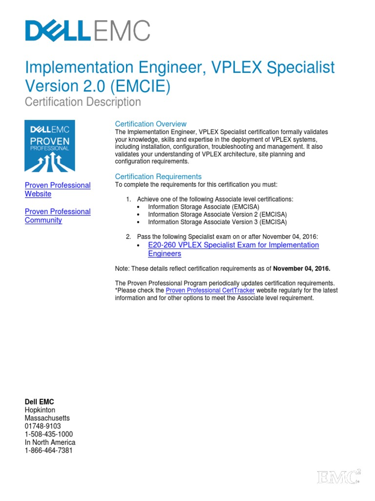 E20 260 IE VPLEX Specialist Exam | Certification | Provisioning