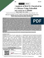 Computational Analysis of BACE1 Involved in Alzheimer's Disease Using Zebrafish (Daniorerio) as A Model