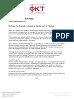 Phi Kappa Tau Response to Incident at University of Maryland