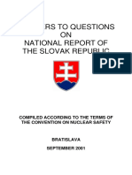 Answers to Questions the Convention on Nuclear Safety 2001 UJD