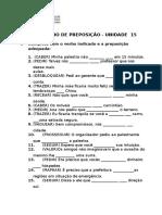Exercício de Preposição Unidade 15 Revisado