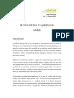 EL POSMODERNISMO EN ANTROPOLOGIA