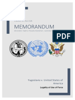 International Court of Justice Memorandum (Legality of Use of Force, Yugoslavia v. USA)