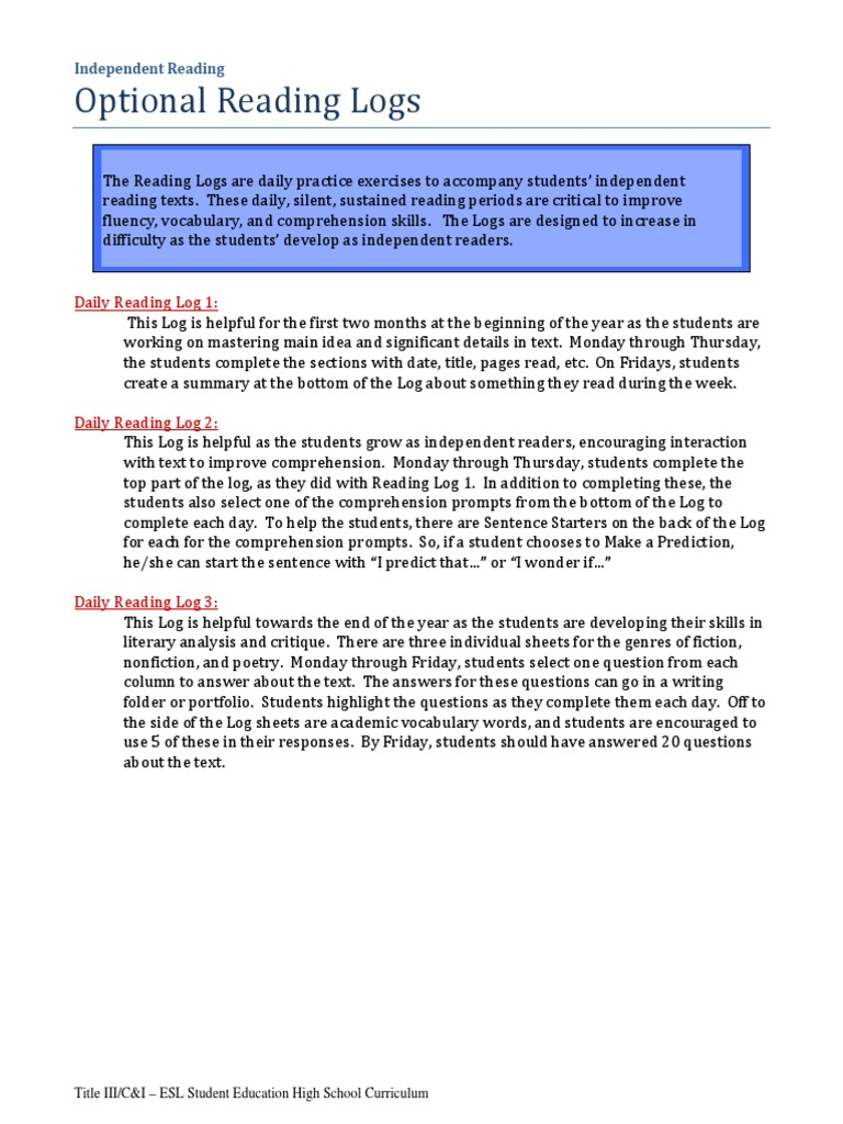 Fine Reading Log Summary Template Motif - Examples Professional ...
