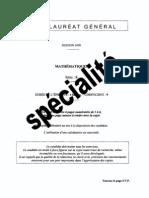 s Mathematique Specialite 2008 Pondichery Sujet o