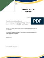 Certificado de Trabajo - De Consumo