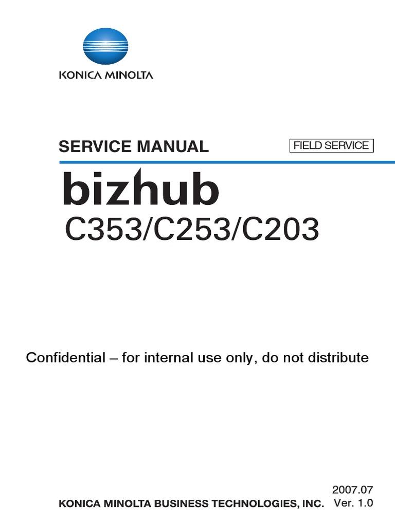 konica minolta bizhub c203 c253 c353 service manual electrical rh es scribd com minolta c253 service manual minolta c253 service manual