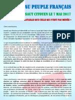 7 Mai 2017 – Message Au Peuple Français