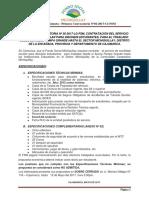 Segunda Convocatoria N03-2017-LG-FSM Contratación Del Servicio de Movilidad Escolar Pampa Grande