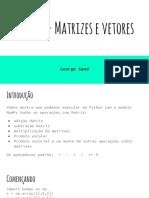 Python Matrizes e Vetores