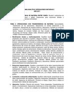 Programa Analítico Operaciones Unitarias II