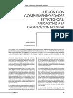 Juegos Con Complementariedades Estratégicas Aplicaciones a La Organización Industrial