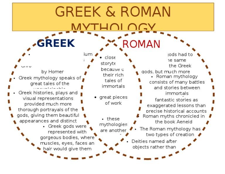 mytho venn diagram roman mythology mythology rh es scribd com greek vs rome compare and contrast greece and rome