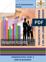 Assignment Brief Management Accounting Unit 5