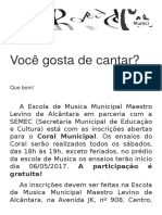 A Escola de Musica Municipal Maestro Levino de Alcântara Em Parceria Com a SEMEC