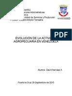 evolución de la actividad agropecuaria en Venezuela