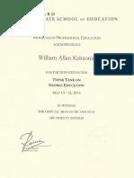 Harvard Acknowledgement of Participation - William Allan Kritsonis, PhD