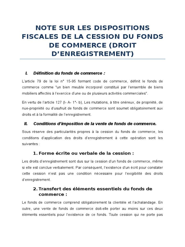 Note Sur Dispositions Fiscales De Cession Du Fonds De Commerce