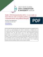 Integrity Forum 2017 Beyes Bhattacharya India Demonetisation Drive