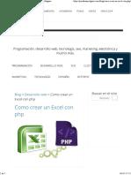 Crear Un Excel en PHP