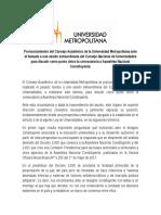 Pronunciamiento CA Ante El CNU Sobre Asamblea Constituyente