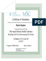 minority health conference certificate