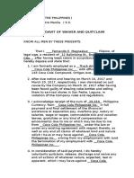 Affidavit of Waiver and Quitclaim